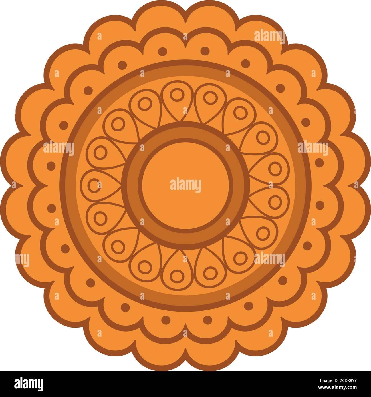 Diseño de la torta de luna, Feliz festival de la cosecha de mediados de otoño oriental chino y tema de la celebración ilustración vectorial Ilustración del Vector