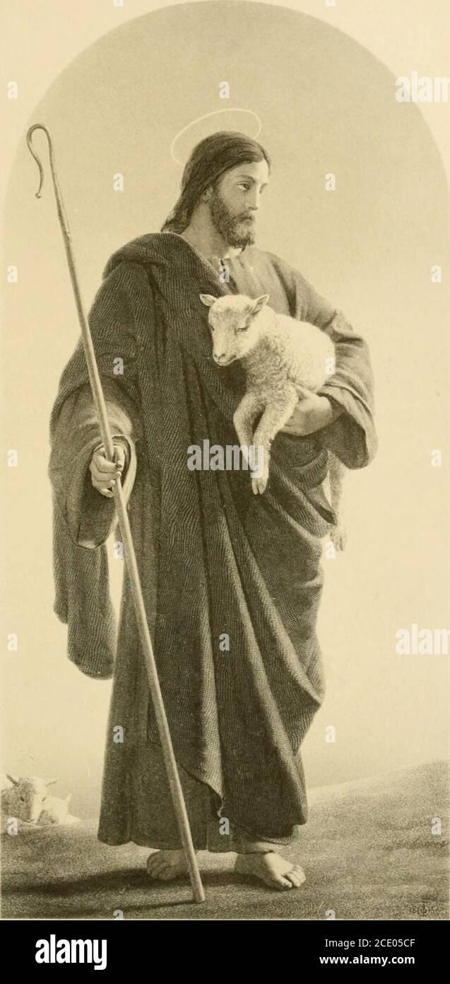 . La luz del mundo, siendo la segunda parte de la vida y enseñanzas de nuestro Señor, en verso . muchos un signo ?? Conozco a Mis ovejas, y yo soy conocido de las mías; EVN como el Padre me conoce, y yo 5 el Padre lo sé, y por Mis ovejas muero. Y otras ovejas que no tengo de este redil; estas debo traer y a Mi semejanza moldear, para que un rebaño y un pastor allí puedan ser. Por lo tanto, es Mi Padre me ama, 7 por Mi libre voluntad Mi vida doy, para ser Iesumed, para que vivan conmigo. ?aunque la antigua lectura se conserva en la versión revisada, no hay duda de que esto es el verdadero rende Foto de stock