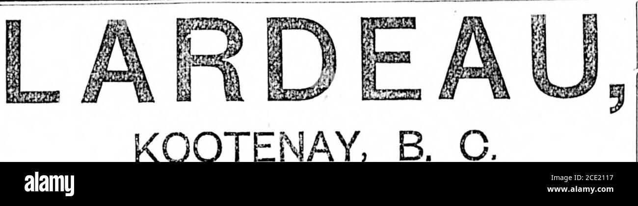. Diario Colonist (1892-11-23) . EL. NOTIObS. KOOTE el sitio de la ciudad de Lardeau, situado en el brazo noreste del lago de la flecha superior, y el punto de entrada a los ricos distritos Mineros de Lardeau y Fish Creek, se colocará en el mercado en el curso de la próxima quincena. Al norte, sur y este de la ciudad de Lardeau se ha localizado y desarrollado algunas minas de oro y plata extremadamente ricas. Especialmente este es el caso en el país Lardeau, donde los bordes son más grandes y los ensayos en Oro y Plata mayores que los de cualquier otra sección MiningSection de Kootenay. Completo:: Detalles::: Will:: Mentira::: Foto de stock