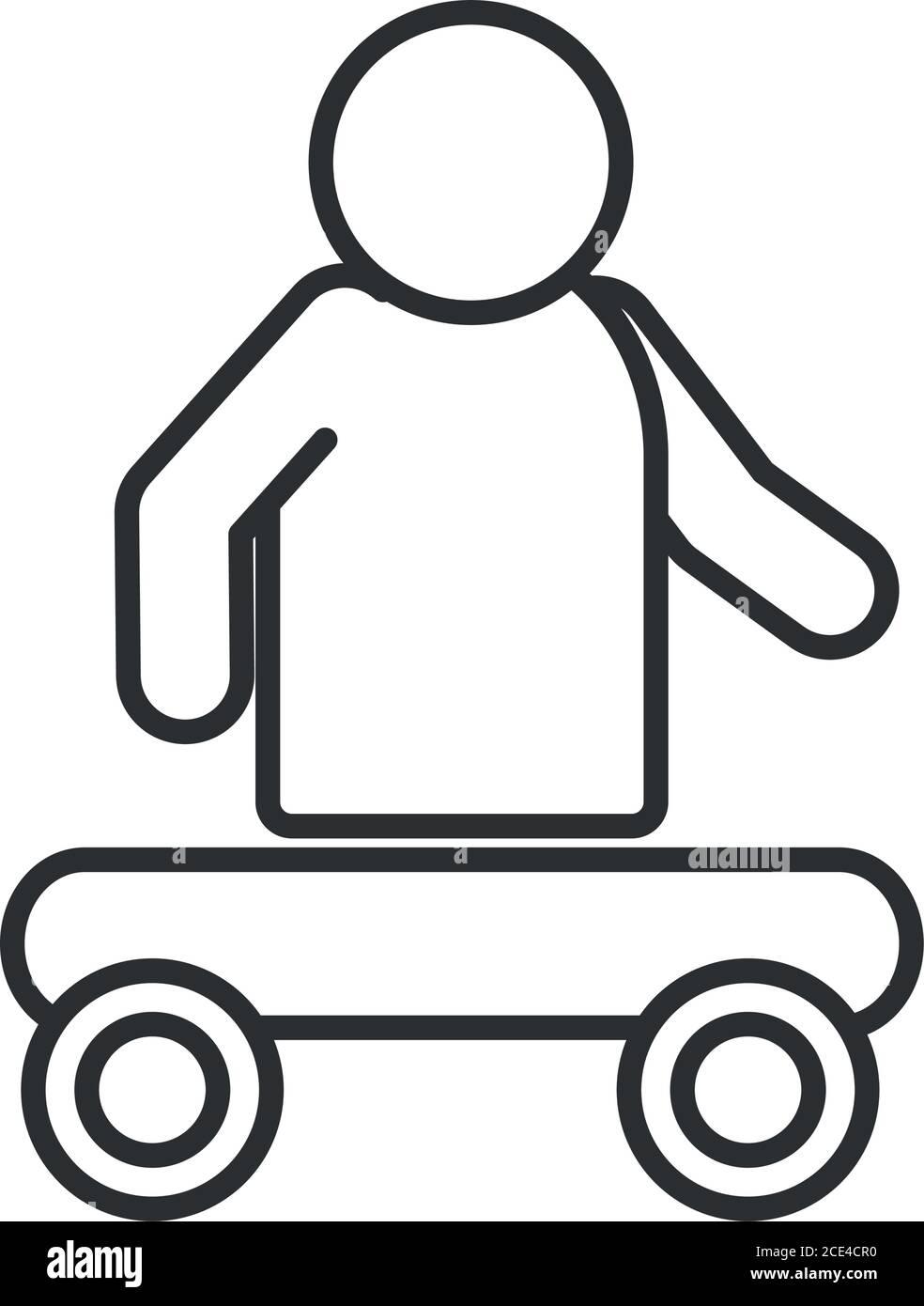 persona sin piernas sentada en el carro, día mundial de la discapacidad, icono lineal diseño ilustración vectorial Ilustración del Vector