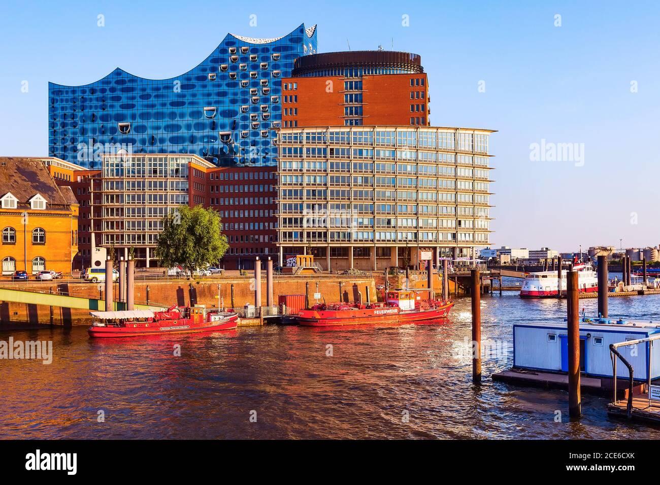 Distrito Speicherstadt en ciudad de Hamburgo, Alemania Foto de stock