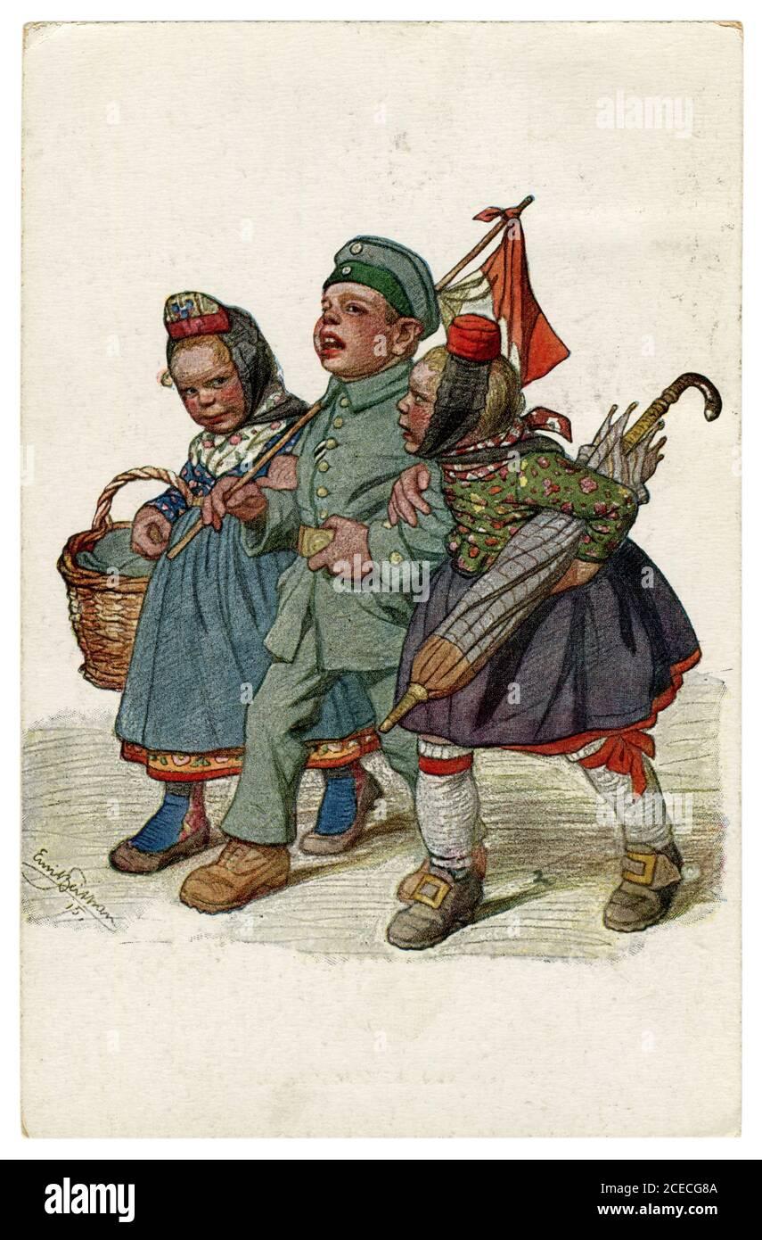 Postal histórica alemana: Niños como adultos: El soldado regresó de la guerra, el héroe camina con dos niñas. Por Beithan, Emil Alemania, 1915 Foto de stock