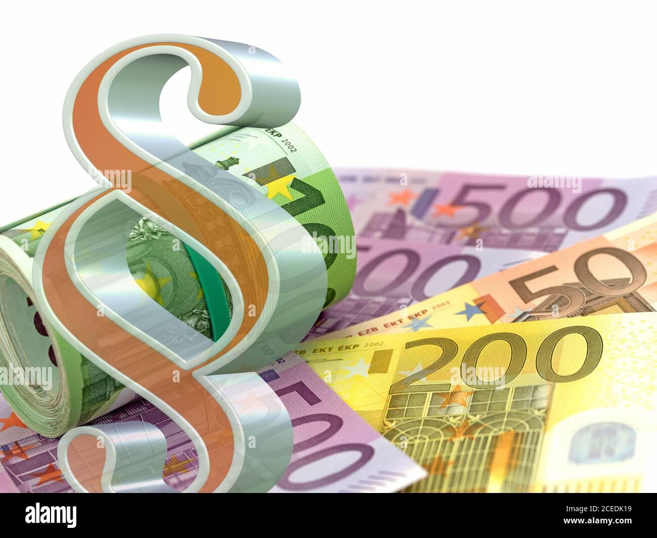 Apartado delante de muchos billetes en euros Foto de stock