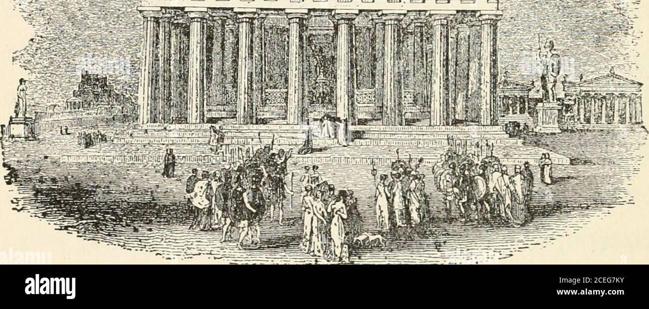 . Hombres de la vieja Grecia, por Jennie Hall. EAST END OP LAS naves DEL PARTENÓN, los ornamentos de oro en pico y onstátulas, quemadas. Las vigas niveladas de thesun dispararon bajo el amplio porche. Theyshone sobre los dioses sentados allí en marblerelief sobre otras columnas, esperando a Phidias y el Partenón 2L> recibir la procesión. Y en el pedi-mento, Atenea acababa de brotar de la cabeza de Zeus. Y los dioses estaban de pie y miraban con asombro. La gente ya no podía estar en silencio.se olvidaron de las oraciones santas por venir. ¡Theygrité, Athene, Athene! Y por un minuto se volvieron a hablar entre ellos. Me siento como th Foto de stock