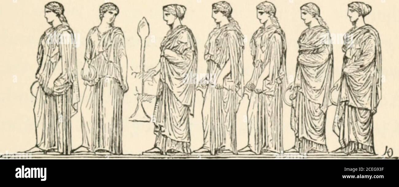. Hombres de la vieja Grecia, por Jennie Hall. ii -_ o - o = .- y.. — - - - - x a = M Phidias y la parte/tenón 187 en la mayor y más hermosa procesionesde todos (Ireeee. No solo las casas estaban llenas de gente mirando. En lugares abiertos se habían construido formas de plat, y estaban archivadas con hombres y mujeres homosexuales. La gente estaba parada en V,. LAS MUJERES de ATIIKNS EN EL FESTIVAL PANATHENAIC los porches de los templos, o atestaron a los cornadores del mercado-lugar. Fueron Visit-ors de todo el mundo, ven a ver este gran festival. Las mujeres ateniense estaban allí, que no podían dar la larga caminata, y los padres andmot Foto de stock