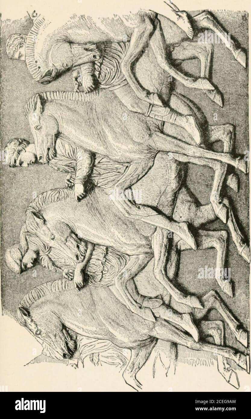 . Los hombres de la vieja Grecia, por Jennie Hall. ind los vencedores.ellos llevaron ramas de la aceituna de Athenes. Jóvenes guerreros en caballos de prancing folloed ellos. El viento levantó sus brillantes 186 capes de los hombres de la Grecia Vieja y mostró su brillante armadura debajo. Después de ellos vinieron todos los warriorsde Atenas, algunos a caballo, otros a pie.algunos llevaron heridas frescas de batallas tardías.de nuevo los gritos de los observadores sonaron en voz alta. No es de extrañar que Atenas tenga suerte en la batalla, dijo uno de los visitantes. Ver el número de sus guerreros, la riqueza de su armadura! Ningún freeman de Atenas estaba dispuesto a desmentir en este gran día. Voy a entrar Foto de stock