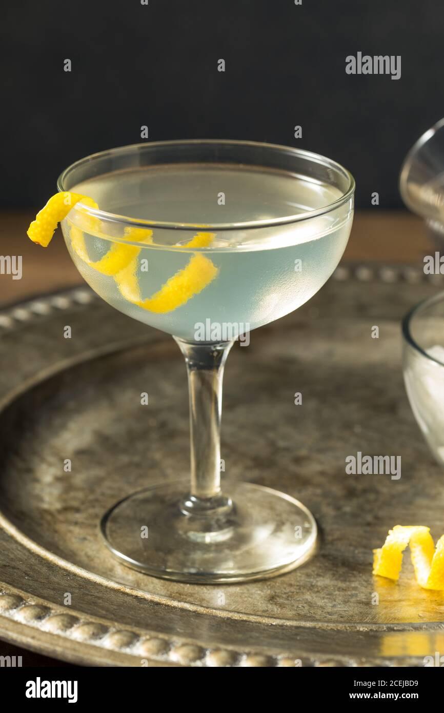 Martini seco refrescante con un Garnish de limón y Vermouth Foto de stock