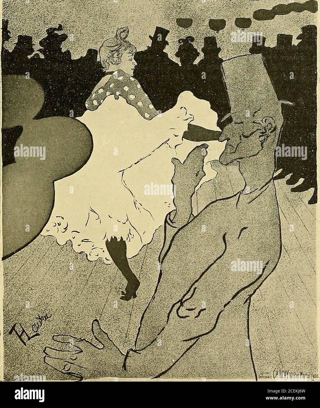 . Le peintre-graveur illustré : (xix y xx siècles). 339. — MOULIN-ROUGE (la goulue) (H. i,yoo millim, L. i OUÙN jsoo)   ROUGE Râi . I lonq o?tvfl?. M TOUS les SOIRS OOU LU K. (1&91) i Etat. Reproduit celui. 2 — Eli outre de la lettre du H., en la luz vers le B. : Tous les soirs. Moulin Rouge. Les Mercreis y Samedis. BAL MASQUÉ. Cette affiche en deux feuilles et qui, pour être complète, doit comprendre une bande contenant unepartie de la lettre du haut, a été exposée à Reims en 1896 (à lExposition Internationale dAffingiches), puisreproduite à diverses prises ; notons ici, parces mi reproductions Foto de stock