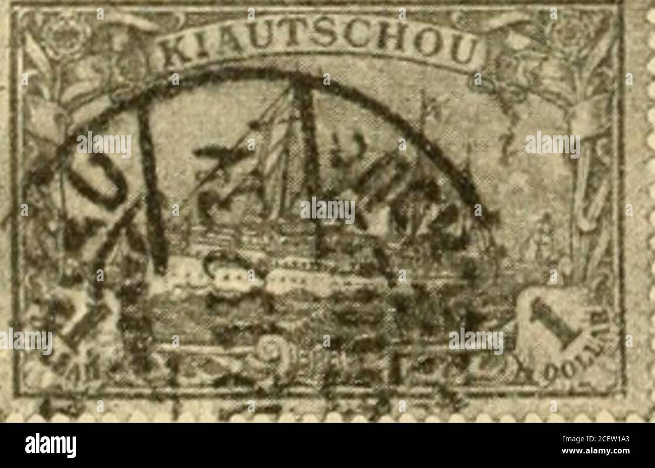 . Die postwertzeichen und entwertungen der deutschen postanstalten in den schutzgebieten und im auslande. Foto de stock