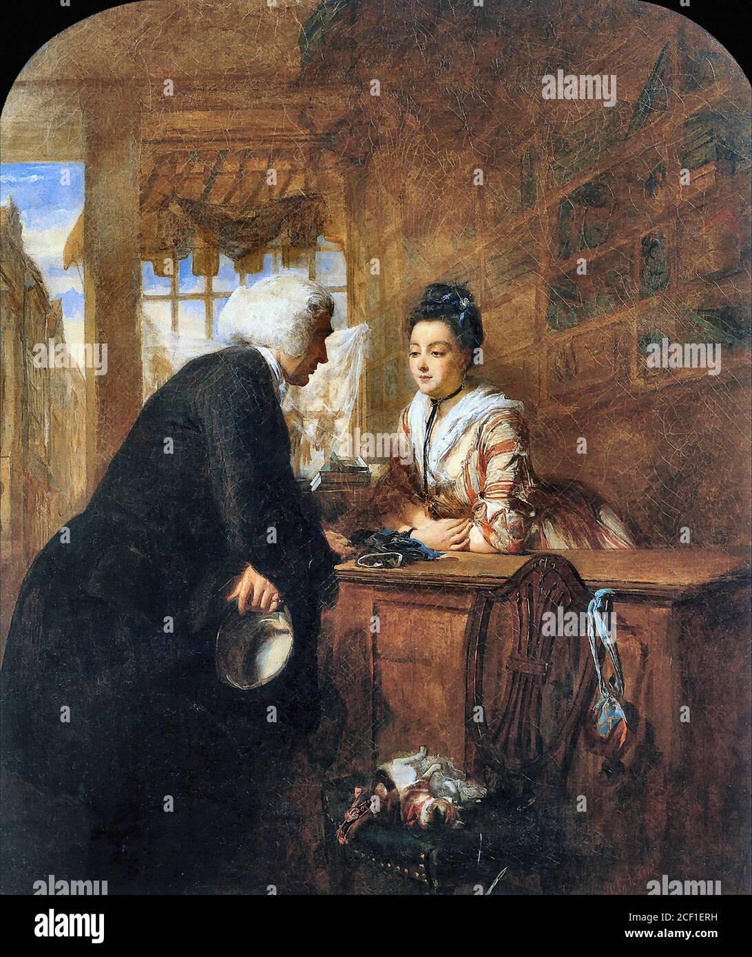 Frith William Powell - escena de 'un viaje sentimental' - Escuela Británica - siglo XIX Foto de stock