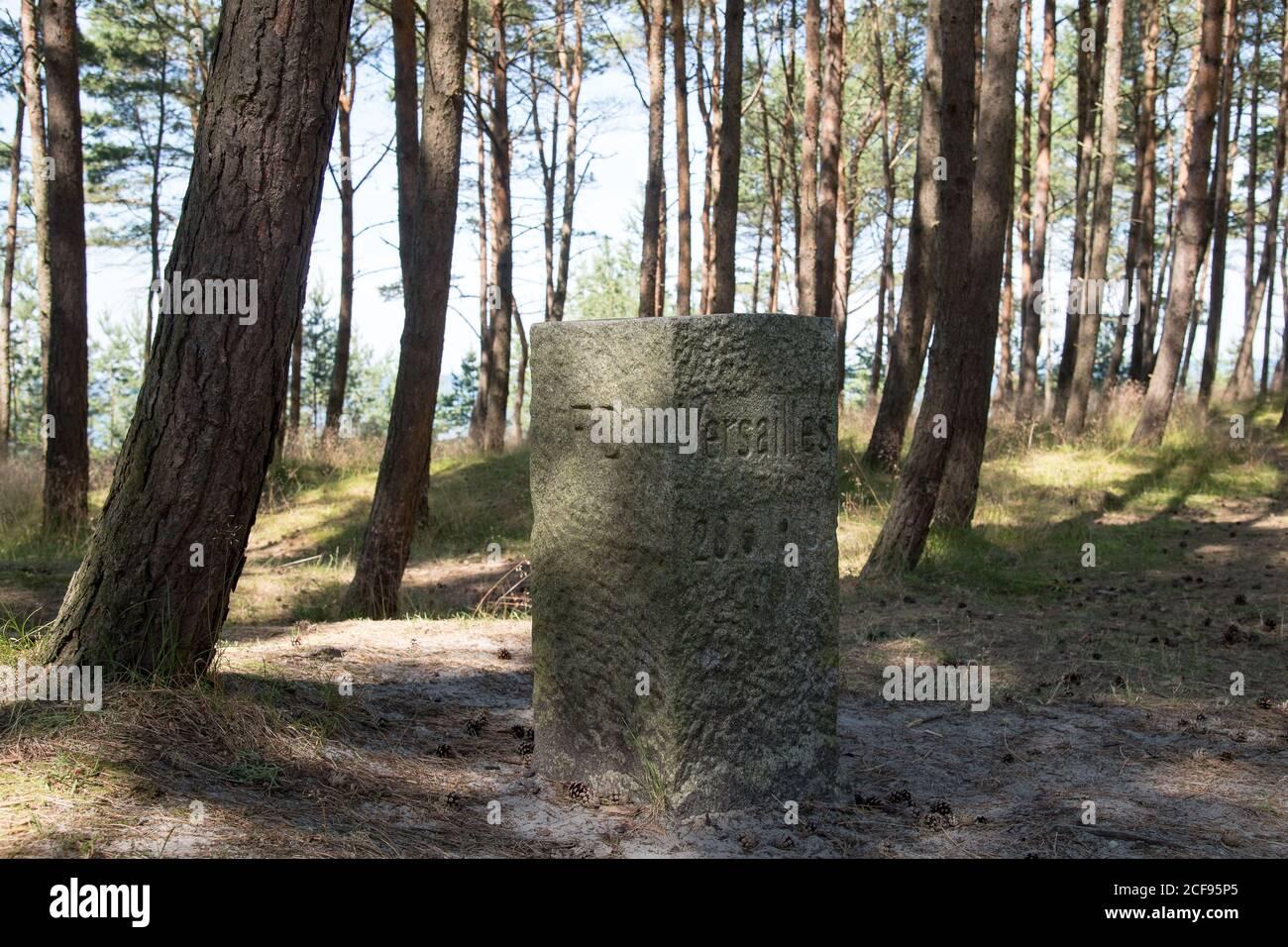 Freie Stadt Danzig/Deutschland y la piedra límite del Tercer Reich en el primero Frontera que fue creada como resultado de la Paz de Versalles Conferencia en junio de 28 Foto de stock