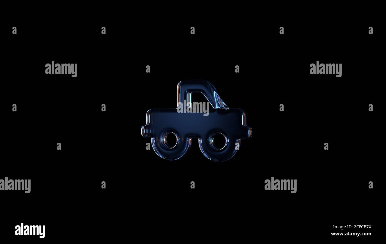 símbolo de cristal de representación en 3d de la carretilla elevadora aislado en negro fondo con reflejos azul claro y naranja Foto de stock