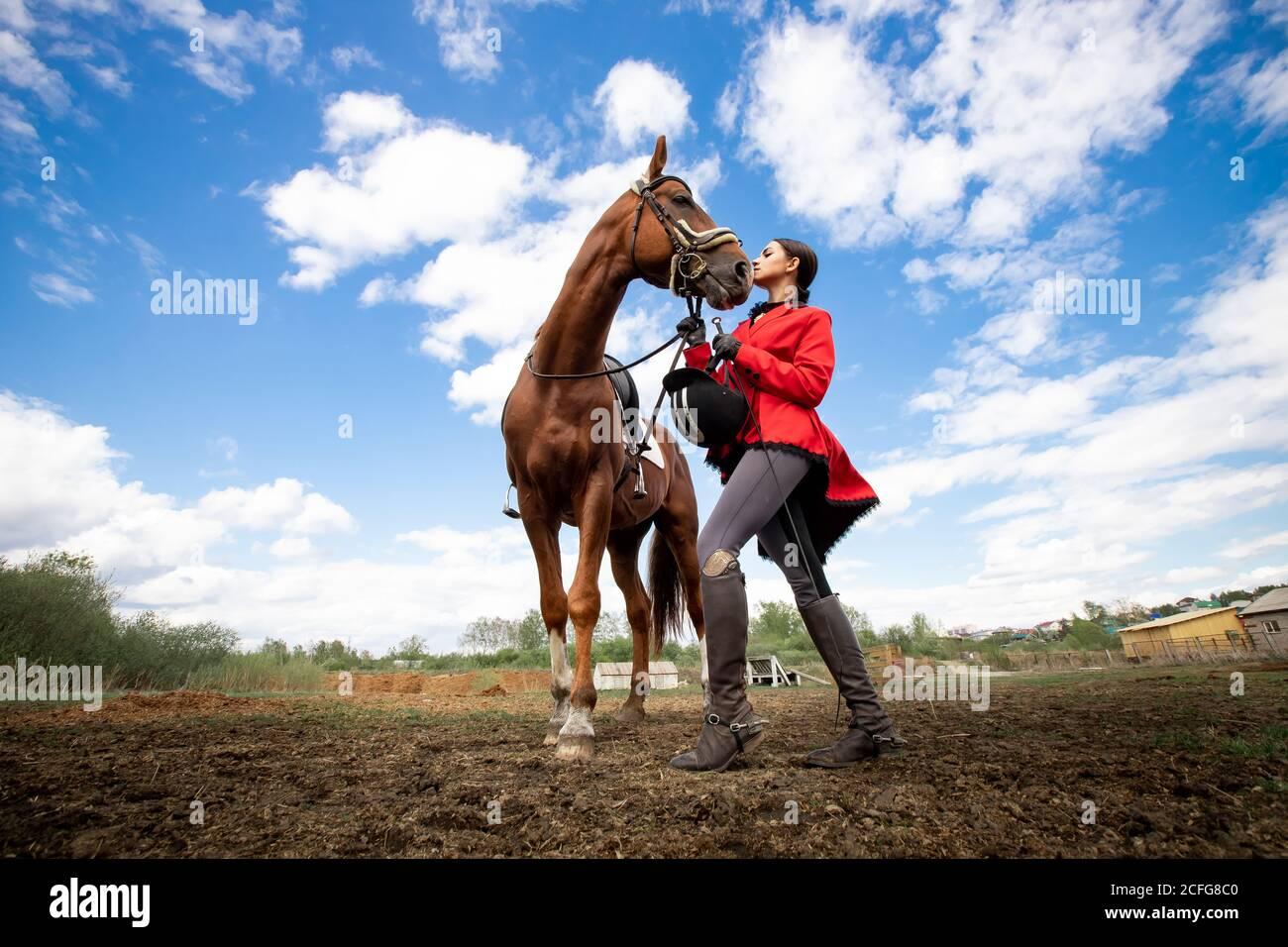 Deporte ecuestre, jockey joven mujer está montando caballo marrón Foto de stock