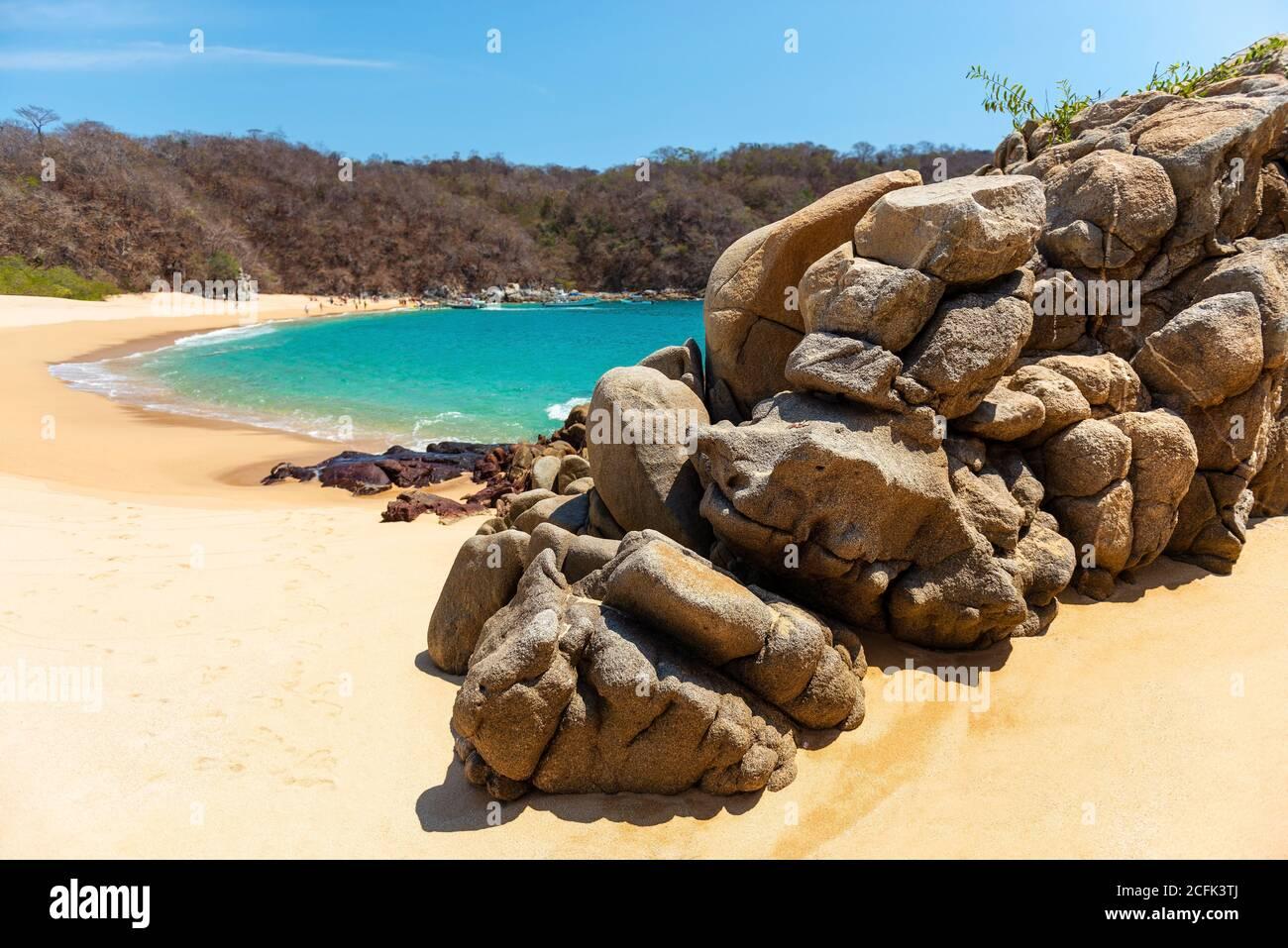 Playa del Organo en Huatulco, estado de Oaxaca, México. Foto de stock