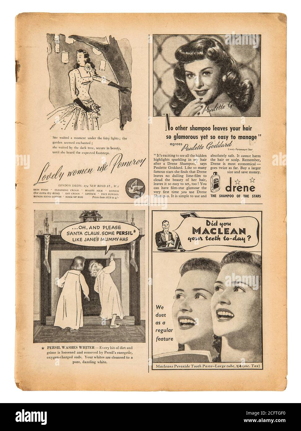 Página del periódico con texto en inglés y cuadros de publicidad vintage. Antigua revista británica de 1947 Foto de stock