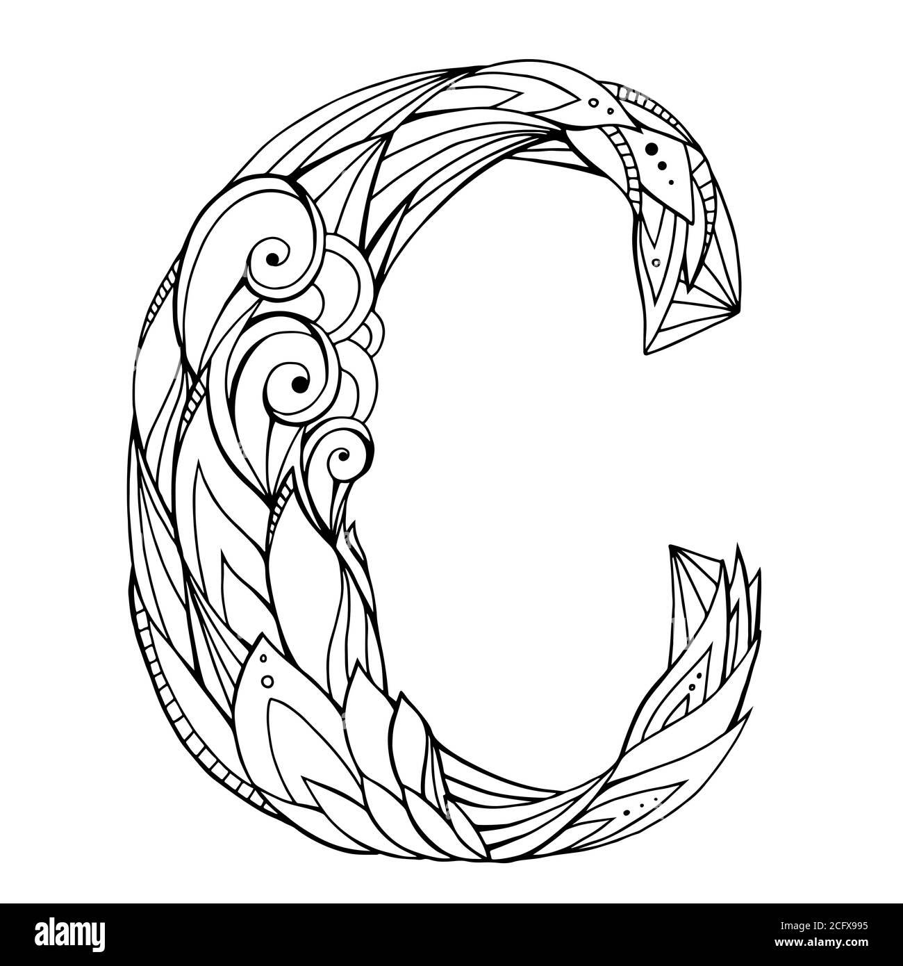 Dibujo a mano alzada en blanco y negro letra C con patrón de fideos florales. Elemento vectorial para su diseño Ilustración del Vector