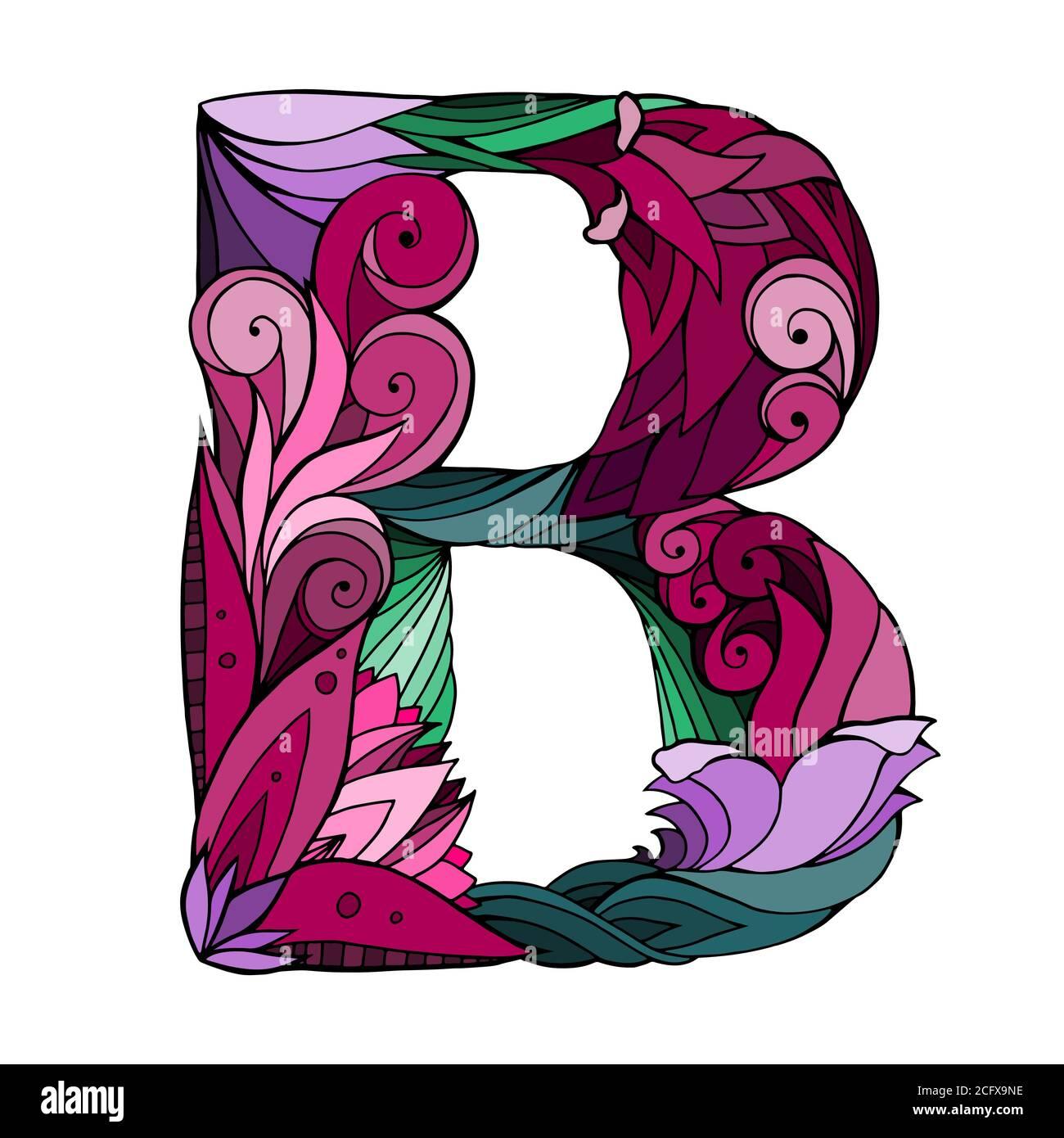 FreeHand dibujando la letra mayúscula B con patrón de fideos florales. Elemento vectorial para su diseño Ilustración del Vector