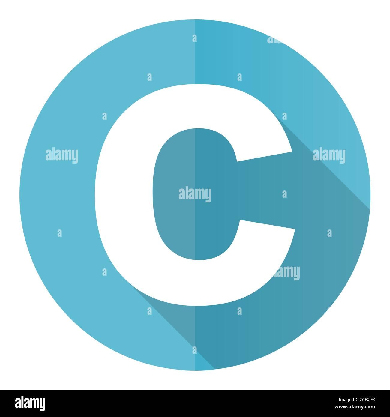 Copyright vector icono, diseño plano azul redondo botón web aislado sobre fondo blanco Ilustración del Vector
