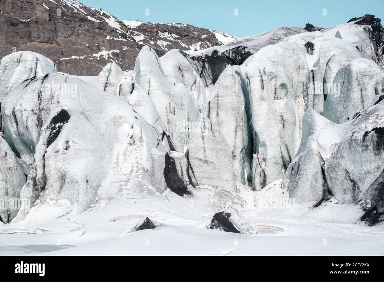 Glaciar Solheimajokull, al sur de Islandia Foto de stock