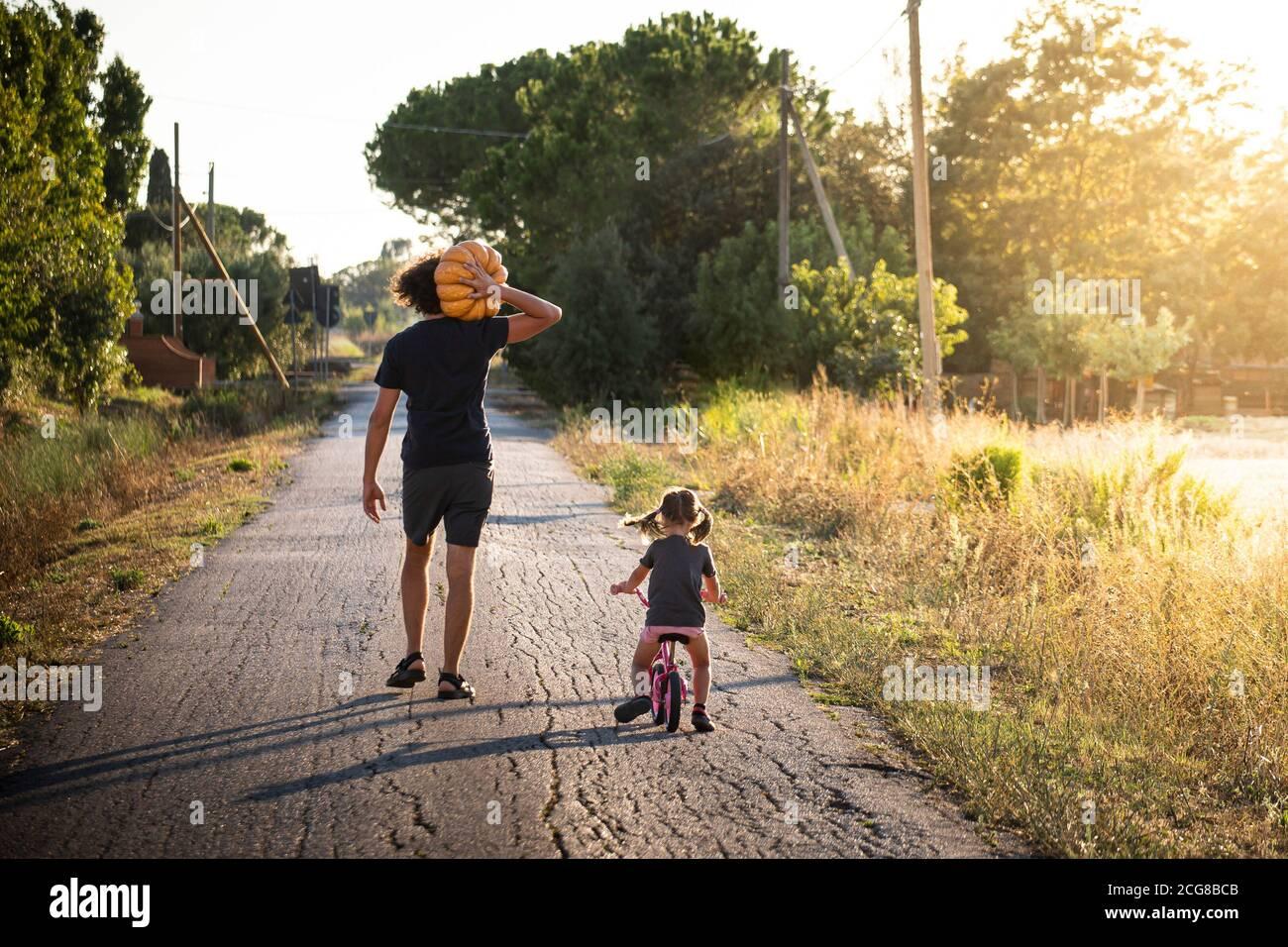 Niña pequeña, montando en bicicleta, con su joven padre llevando una gran calabaza de halloween en un camino campestre al atardecer. Vista posterior. Foto de stock