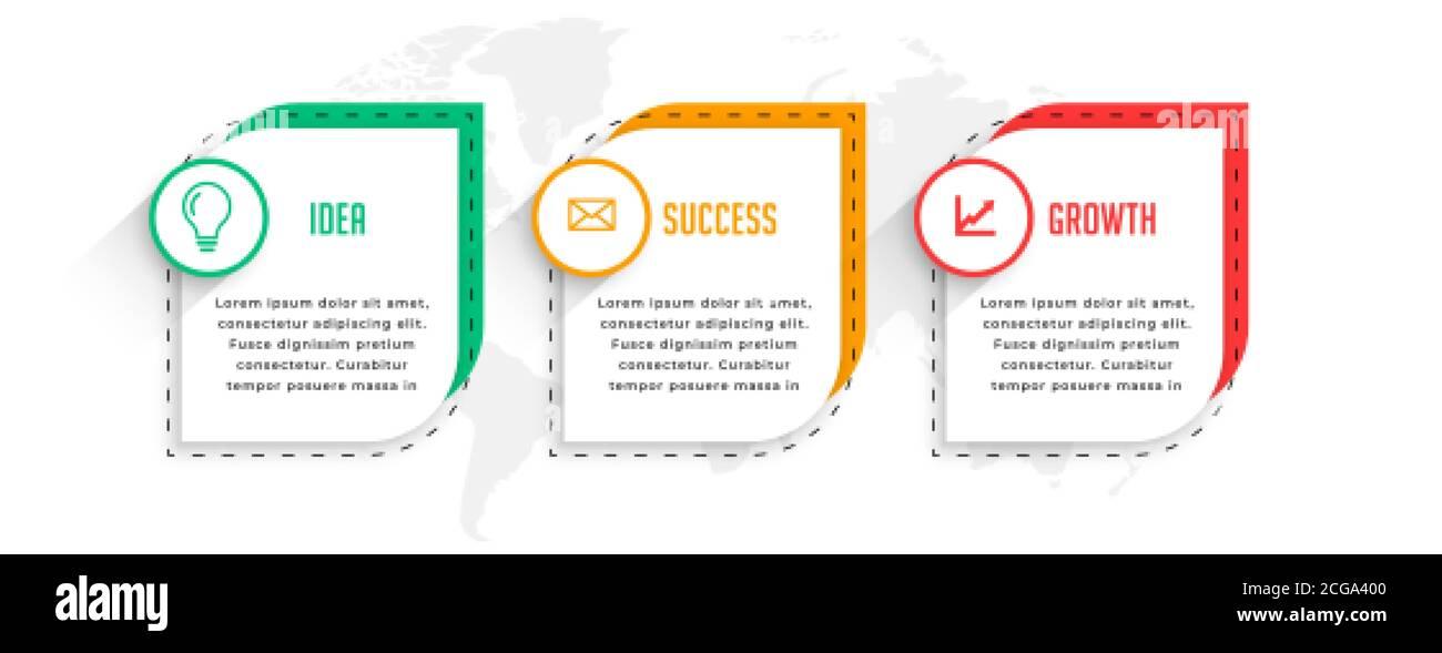 diseño profesional de plantillas de infografía empresarial en tres pasos Ilustración del Vector
