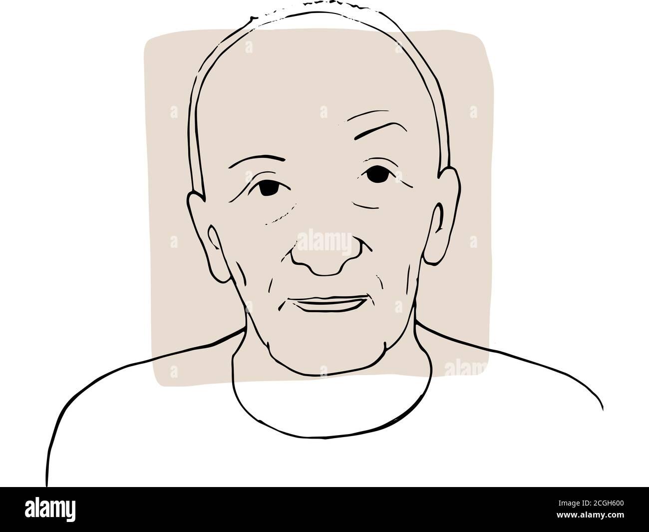 Dibujo a mano retrato de hombre viejo con muestra de color beige claro. Colección abstracta de diferentes personas y tonos de piel. Concepto de diversidad Foto de stock