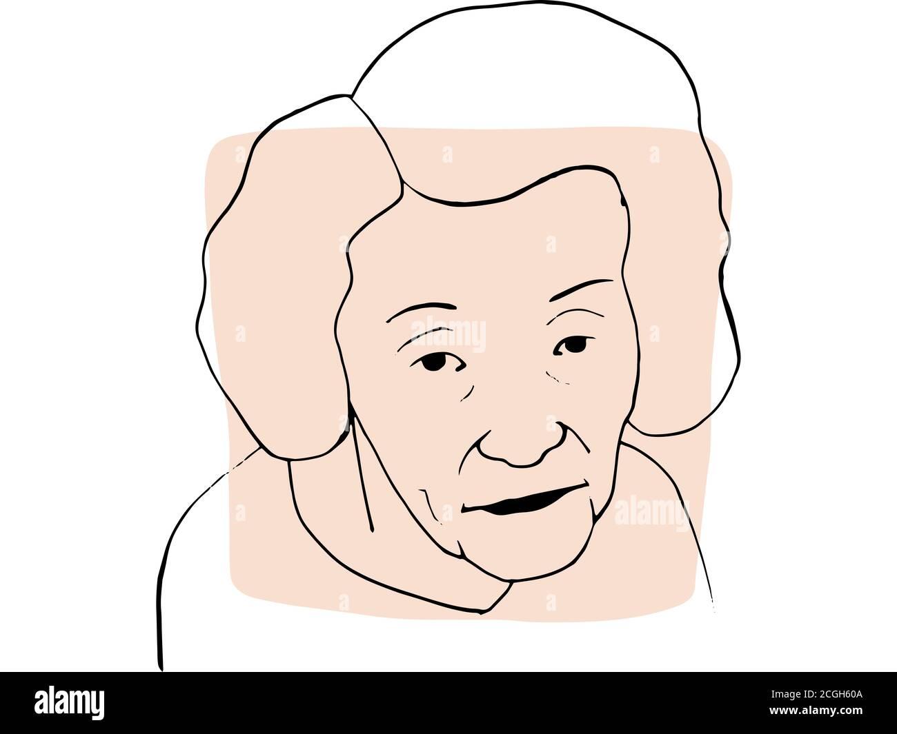 Dibujo a mano retrato de la anciana con muestra de color beige claro. Colección abstracta de diferentes personas y tonos de piel. Concepto de diversidad Foto de stock