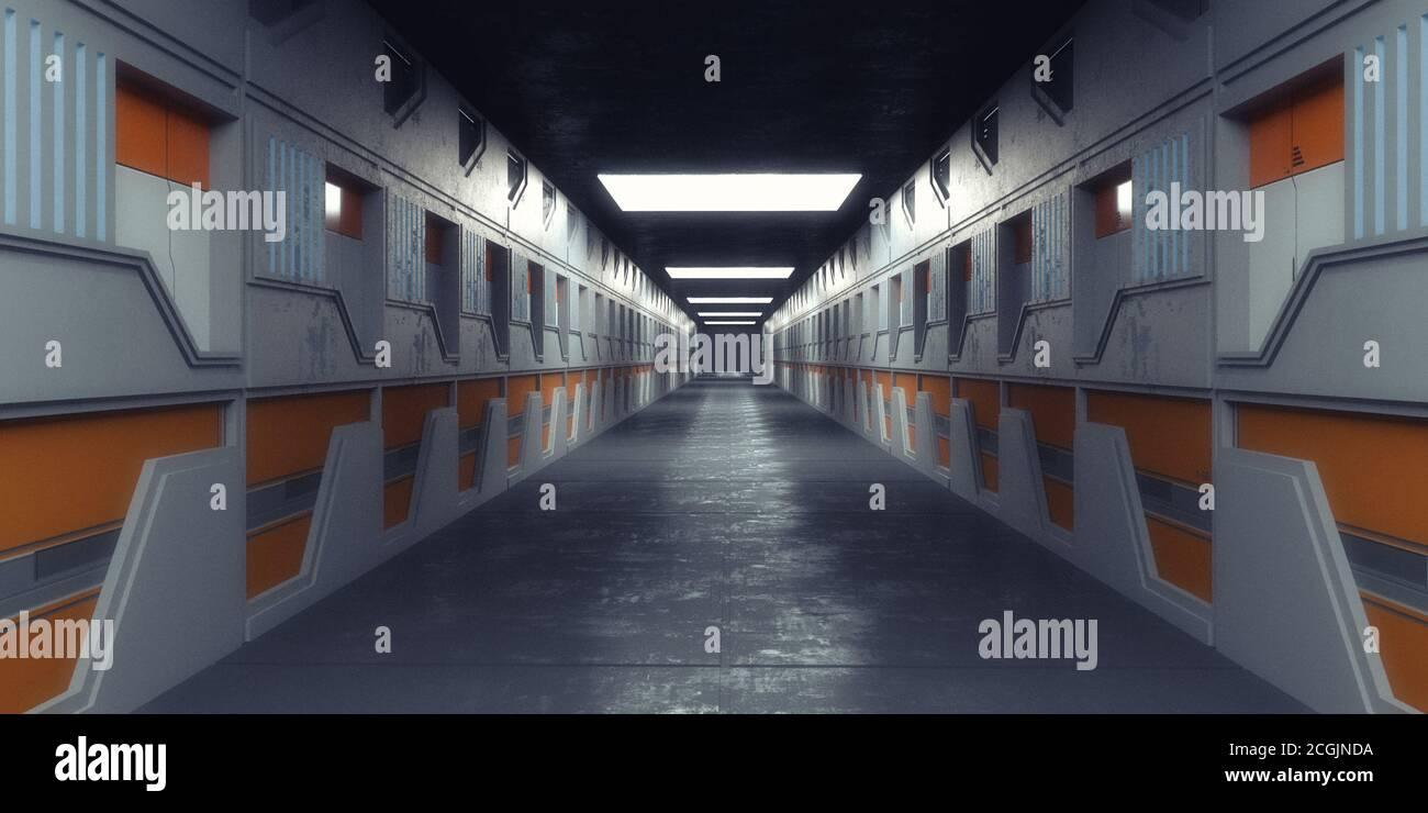 renderizar en 3d. Diseño futurista de pasillos interiores Foto de stock