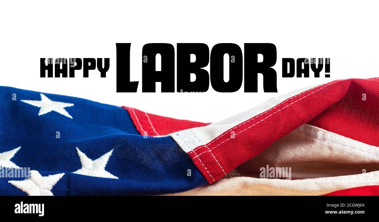 Estados Unidos, América, bandera sobre fondo blanco con saludo del día del Trabajo Foto de stock