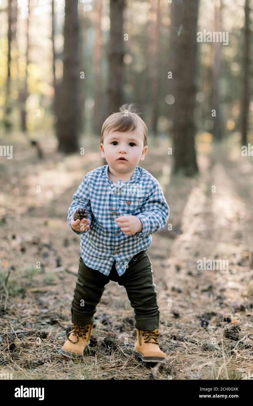 Niño pequeño feliz con camisa, pantalones y zapatos de cuadros con estilo, se encuentra en el parque o bosque de pinos de otoño sobre el fondo de árboles de pino de otoño Foto de stock