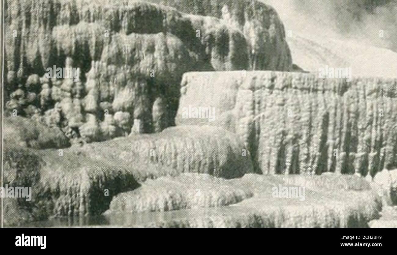 . Recorrido por el continente: Colorado, California y Parque Nacional Yellowstone: Tren especial, realizado personalmente a través de Nueva York Central y Hudson River R.R. y líneas de conexión. 80 pies yel agua se sumerge sobre un estante entre las paredes que son de200 a 300 pies de altura, sobre un arrecife parcialmente sumergido,109 pies debajo. Media milla por debajo de este otoño es el más bajo, o Gran Otoño, que es más grande y más impresionante que el otro, aunque no más pintoresco. Aquí las aguas se adentran en el temible abismo del Gran Canon. El descenso de hojas es de 308 pies. El Canon es considerado por muchos como la o más grande Foto de stock
