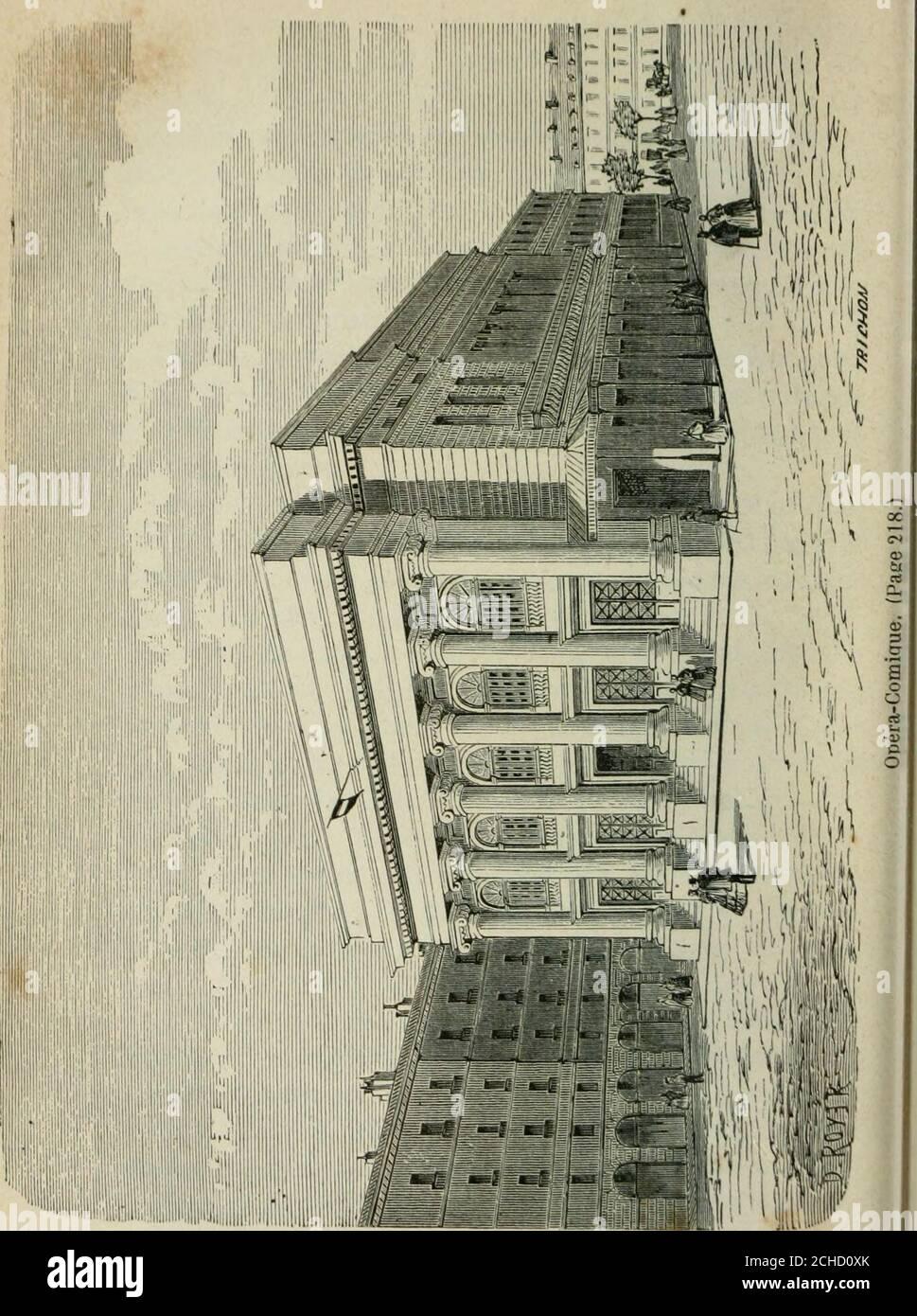 . Les merveilles du nouveau Paris-- . ne-Comédie), vis-à-vis le café Procope. Leur séjour dans ce théâtre, jusquen 1770, fut lépoquela plus brillante de la Comédie-Française. On y vit réunis,au milieu du dix-huitième siècle, Grandval, le Kain, Belle-cour, Préville, Mole, Monval, les Dugazon, les Duménil, lesClairon, les Contât et tant dautotres. La salle étant devenueinsuffisante par laffluence des specteurs français et étran-gers, on en construcuisit une spéciale sur lemplacementactuel de lOdéon, et la Comédie-Française sy installaen 1782, après avoir joué douze colgante ans aux Tui-lleries. La l Foto de stock