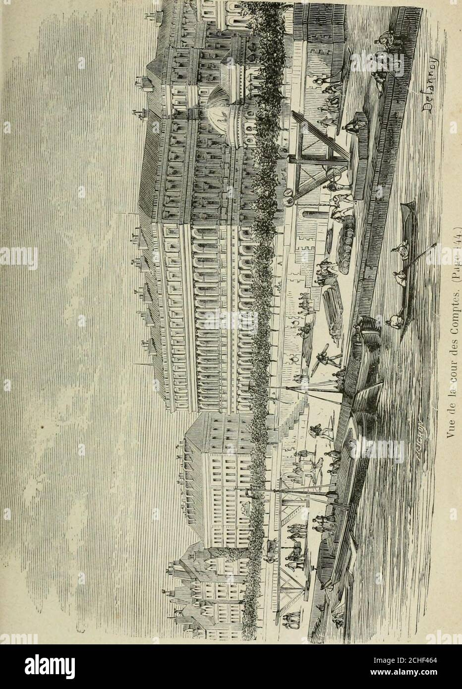 . Les merveilles du nouveau Paris-- presque contigu au palais du Grand Luxembourg. Le petitLuxembourg fut bâti en 1629, par Richelieu, pour lui servirde demeure en attendant que le Palais-Cardinal fût construit.Il communiquait autrefois au Grand Luxembourg par uncorps de bâtiment. CE fut là que le maréchal Ney attendit sacondamnation. Depuis, CE palais resta désert. The neut denouveaux hôtes quà la révolution de Juillet 1830 : lesministers de Charles X y furent enfermés avant le jugementde la Chambre. Puis vinrent Fieschi et ses complices;Alibaud et Meunier ; à loccasion du fameux procès répu Foto de stock