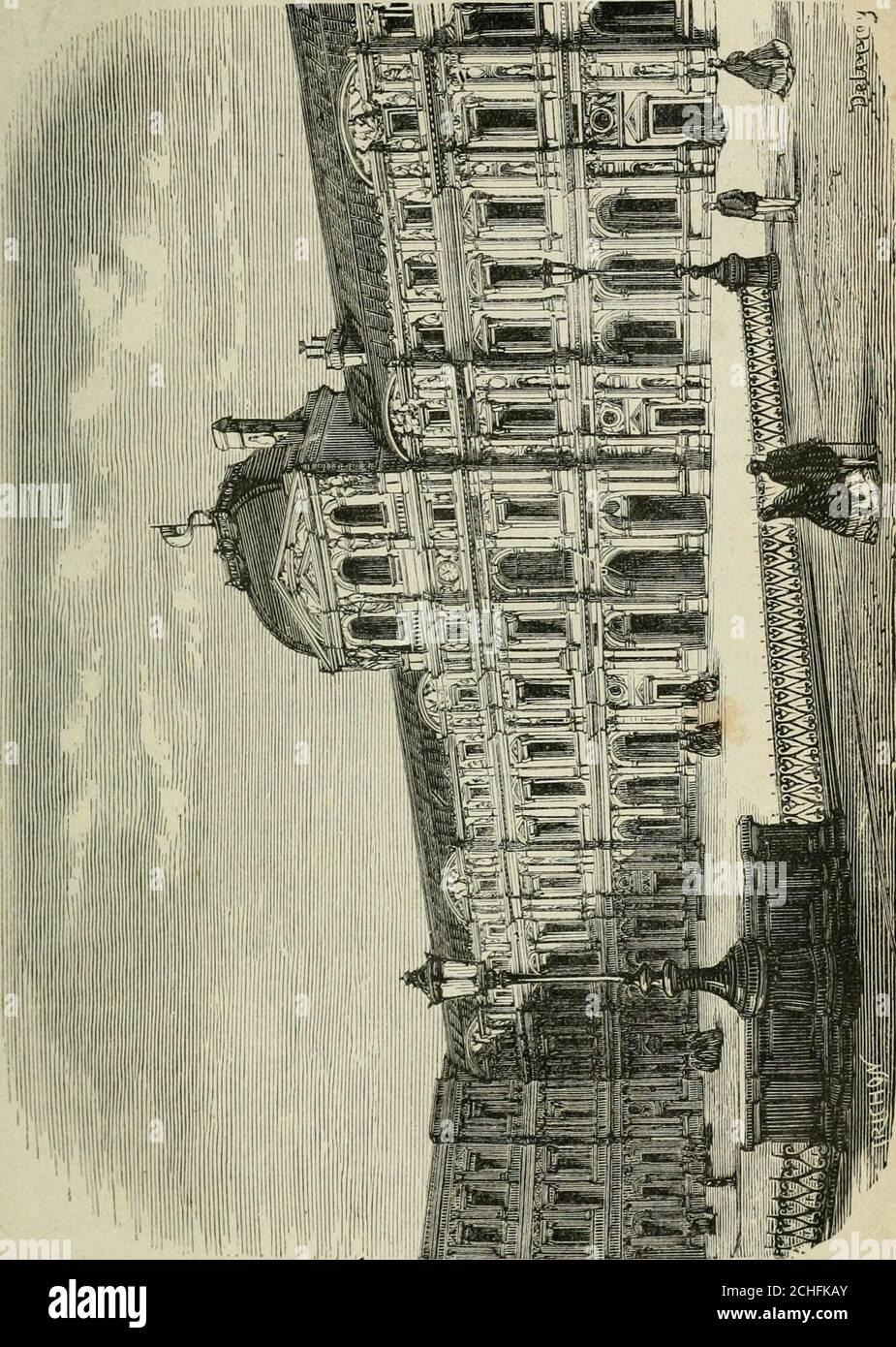 . Les merveilles du nouveau Paris-- . Sauvai, en prome-nant ses regards sur la ville, « on voit la distribution etle cours de toutes les rues, comme les veines du corpshumain. » Nous parlerons ici de deux bois qui, quoique situés endehors de lenceinte fortifiée, font partie intégrante de lavie parisienne. CEST dabord le bois de Boulogne, lorgueil et le lieu deprédilection de tout véritable Parisien. Il sétend à louest Deparis, de la porte Maillot au bord de la Seine. CE bois, dé-bris de la forêt de Rouvray, fut néglicé jusque sous le pre-mier Imperio : Napoléon Ier y fit tracer quelques rutas, Foto de stock