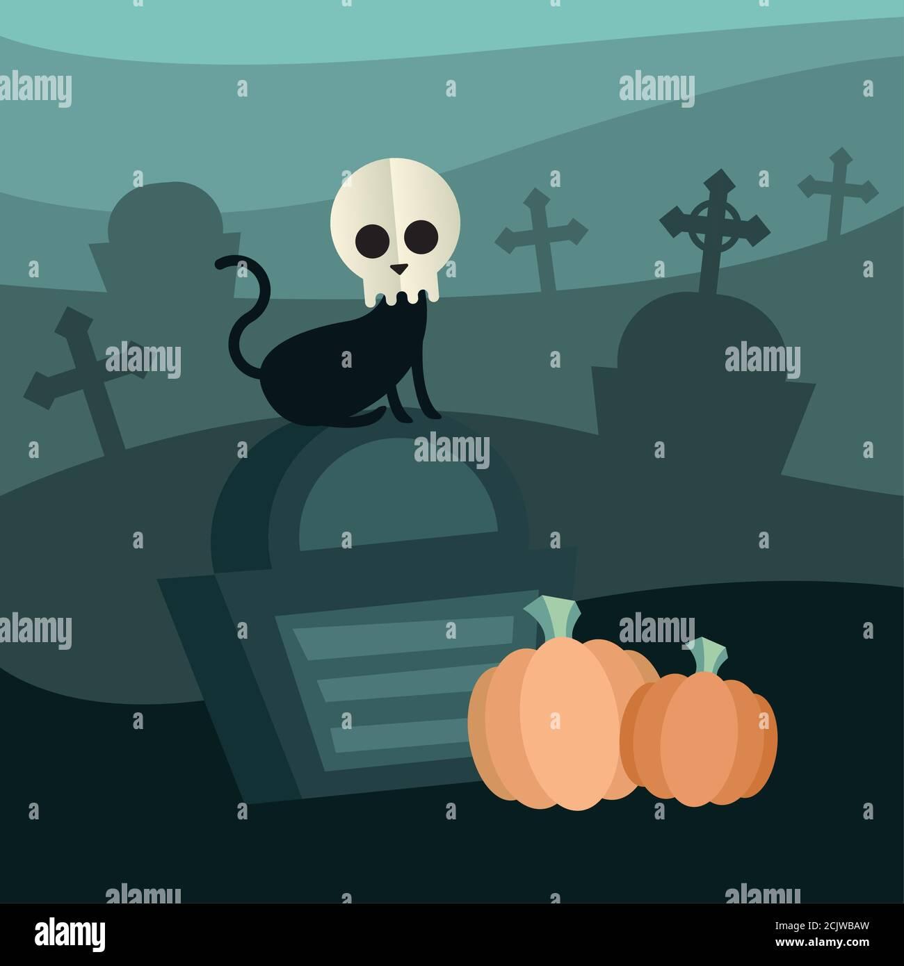 Halloween gato con cráneo en el diseño del cementerio, vacaciones y tema de miedo ilustración vectorial Ilustración del Vector