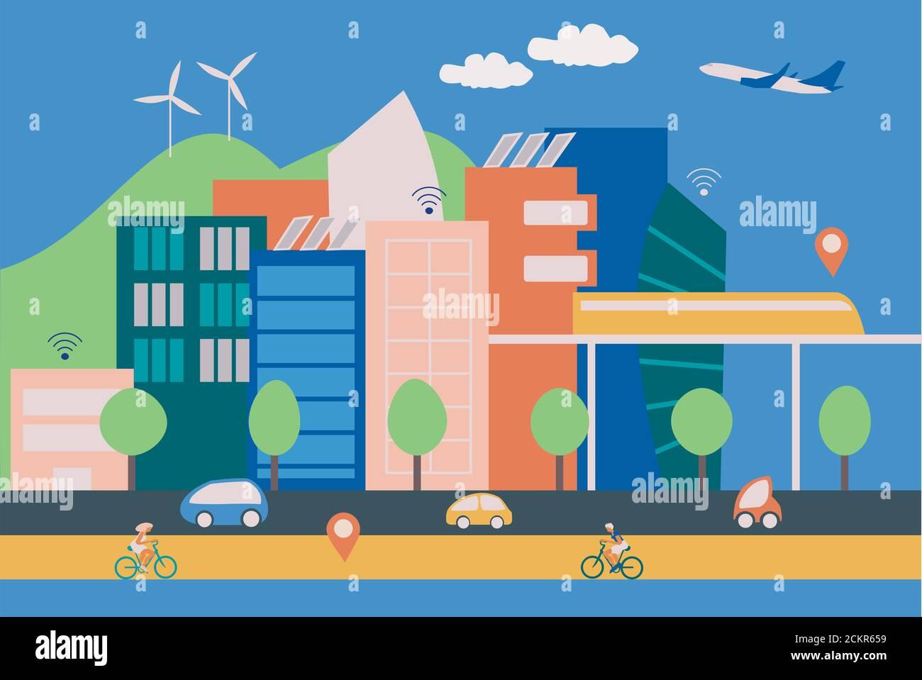 Ilustración de una ciudad moderna y elegante con edificios contemporáneos, gente en bicicletas y coches eléctricos, conexión inalámbrica a internet y energía verde pr Foto de stock