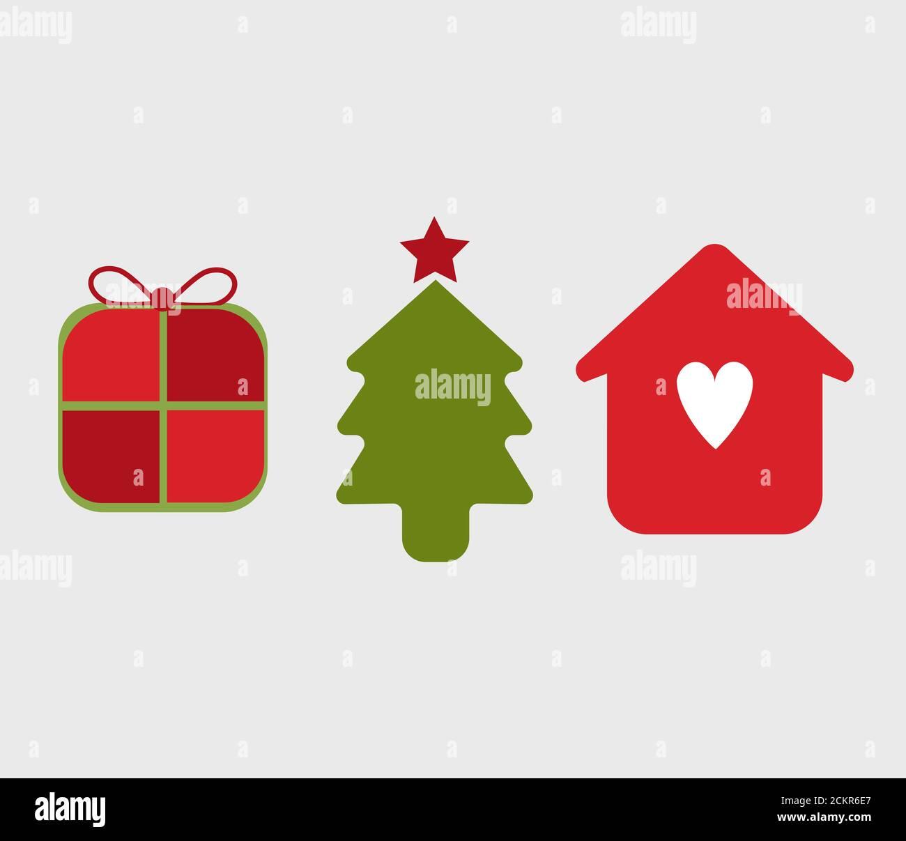 Ilustración de los iconos de TI, símbolos de la temporada de Navidad. Árbol de Navidad, paquete de regalo y familia con amor. Aislado en el fondo Foto de stock