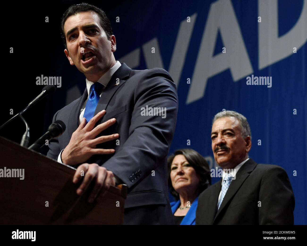 Ruben Kihuen, candidate for United States Representative, NV 4th District speaks at the Nevada state democratic election night event in Las Vegas, Nevada, U.S. November 8, 2016.  REUTERS/David Becker Foto de stock