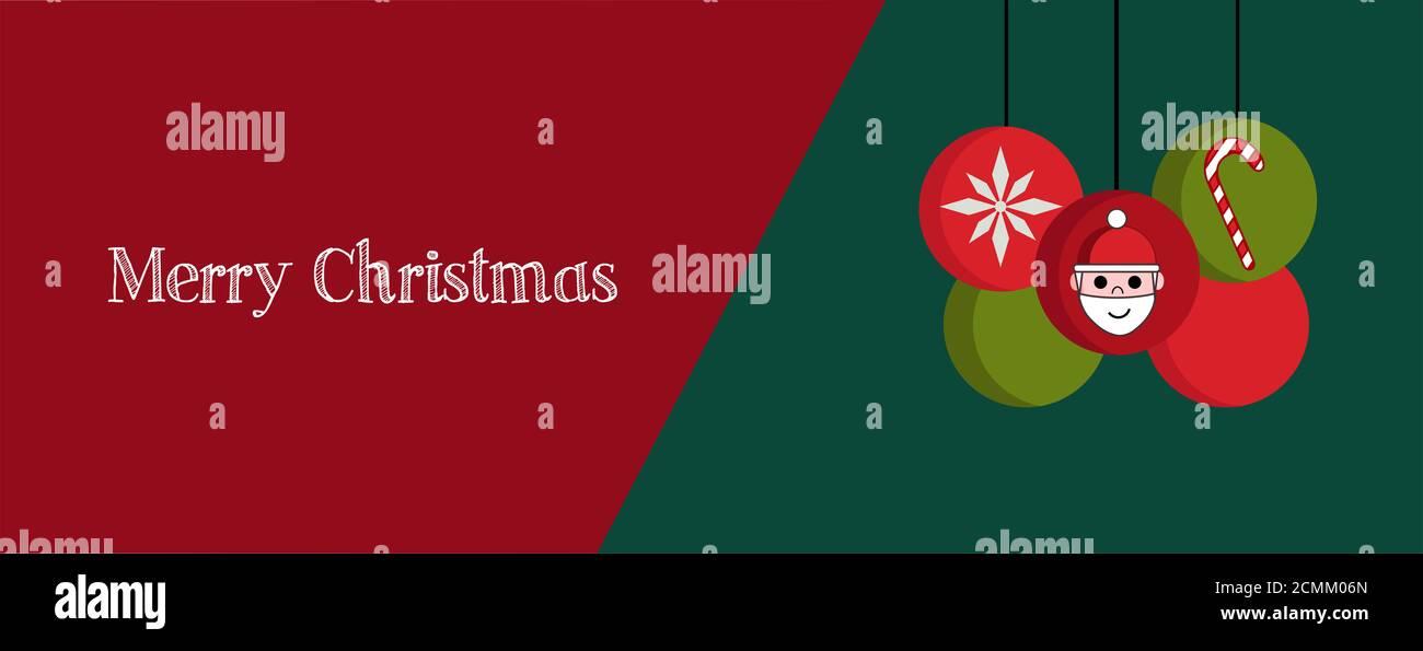 Ilustración de la bandera de Navidad, portada o tarjeta de felicitación con elementos rojos y verdes y cita de Feliz Navidad Foto de stock