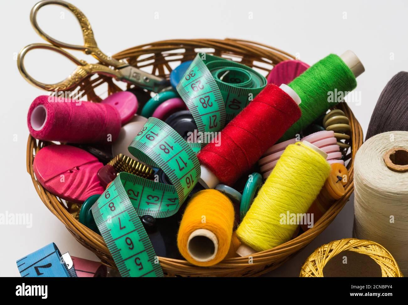 accesorios de costura antiguos Foto de stock
