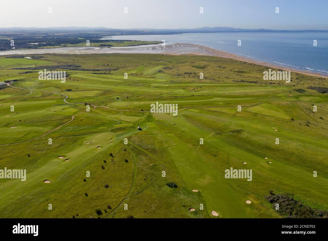 Vista aérea de los campos de golf de Gullane, Gullane 1 & 2, Gullane Hill, East Lothian, Escocia. Foto de stock