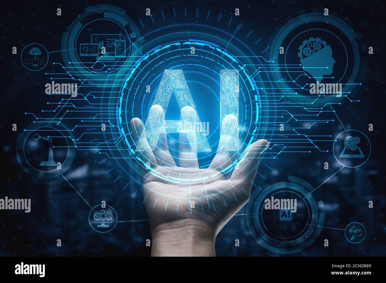 AI Inteligencia artificial y aprendizaje concepto icono - Interfaz gráfica mostrando equipo, máquina de pensar y AI Inteligencia artificial de Digital Foto de stock
