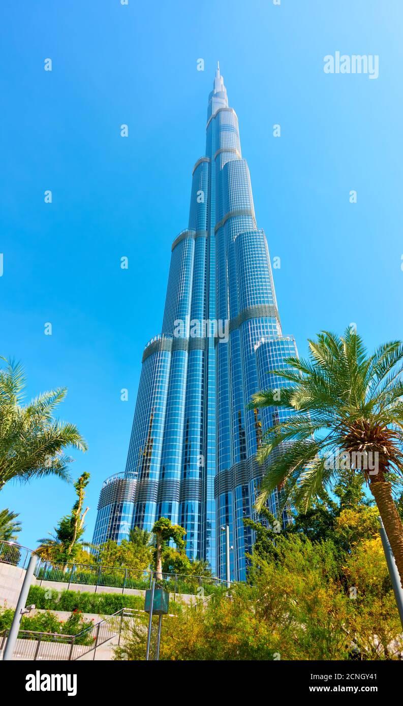 Dubai, EAU - 01 de febrero de 2020: El edificio Burj Khalifa en el centro de Dubai y jardín con palmeras cerca, Emiratos Árabes Unidos Foto de stock