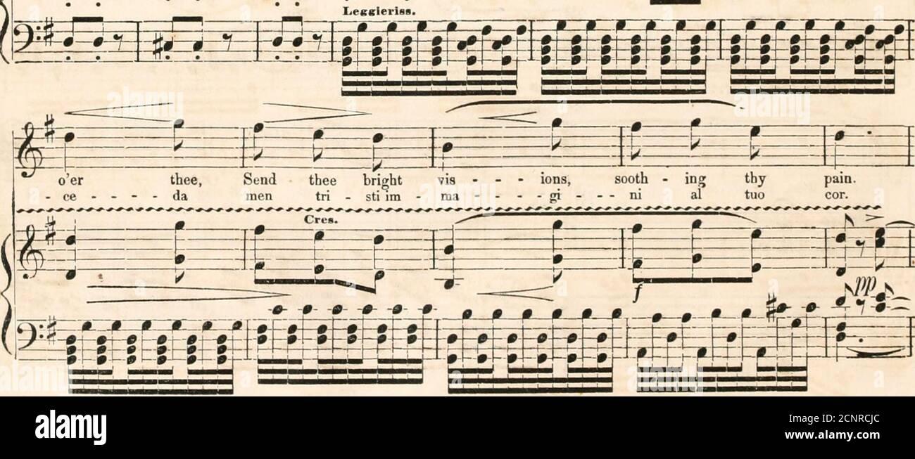 """. La Ducha de perlas; una colección de los más hermosos duetos. T' - E fc effi= — """"-i - cend - ing, despertarme a - gain. Re - pose, oh, fiam - ma, de - stami al - lor. Ri - po - - sa, o moth - • er; puede ver el cielo - ing ma - - dre; ID - di o con - - ff r™H ~ • oer thee, Send thee bright vis - - - • iones, sooth - ing thy - CE - - - - da men tri - sti im - ma ----gi-- ni al tuo f=fa--- fefet[-± hj-ht-rt~braztJ_Err-Li-Li-Li-Li-Li-Li-Li-Li-Li DE VUELTA A NUESTRAS MONTAÑAS, CONTINUÓ. AZU. 151 de vuelta a nuestras montañas, nuestros pasos re - trac - ing, there, peace andAi no - stri mon - ti ri - tor - ne - re - mo Ifan - ti - ca Foto de stock"""
