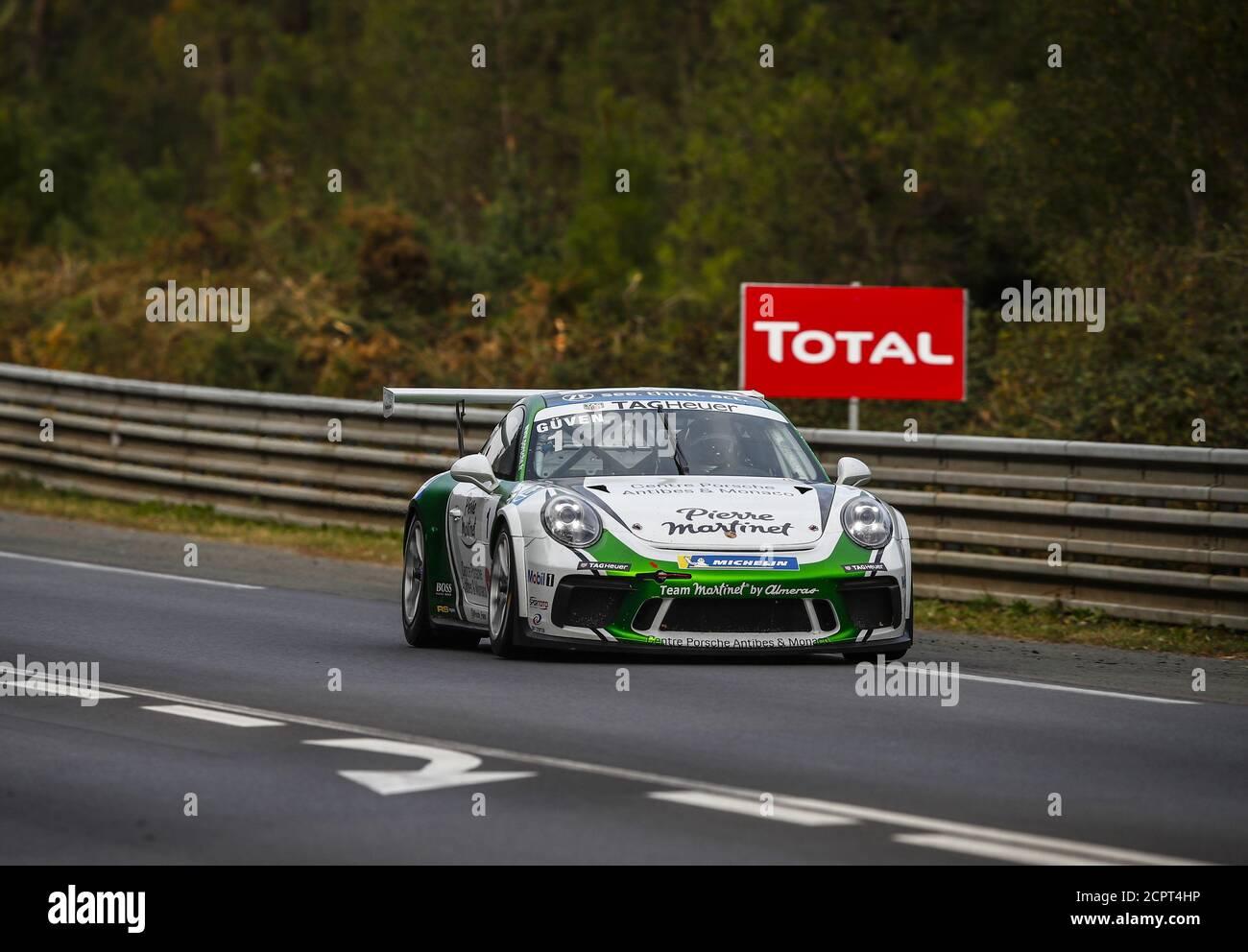 Le Mans, Francia. 19 de septiembre de 2020. 01 Guven Ayhancan, Martinet de Alm..ras, Porsche 911 GT3 Cup, acción durante la Copa Porsche Carrera 2020 en el circuito des 24 Heures du Mans, del 18 al 19 de septiembre de 2020 en le Mans, Francia - Foto Xavi Bonilla / DPPI crédito: LM/DPPI/Xavi Bonilla/Alamy Live News crédito: Gruppo Editoriale LiveMedia/Alamy Live News Foto de stock