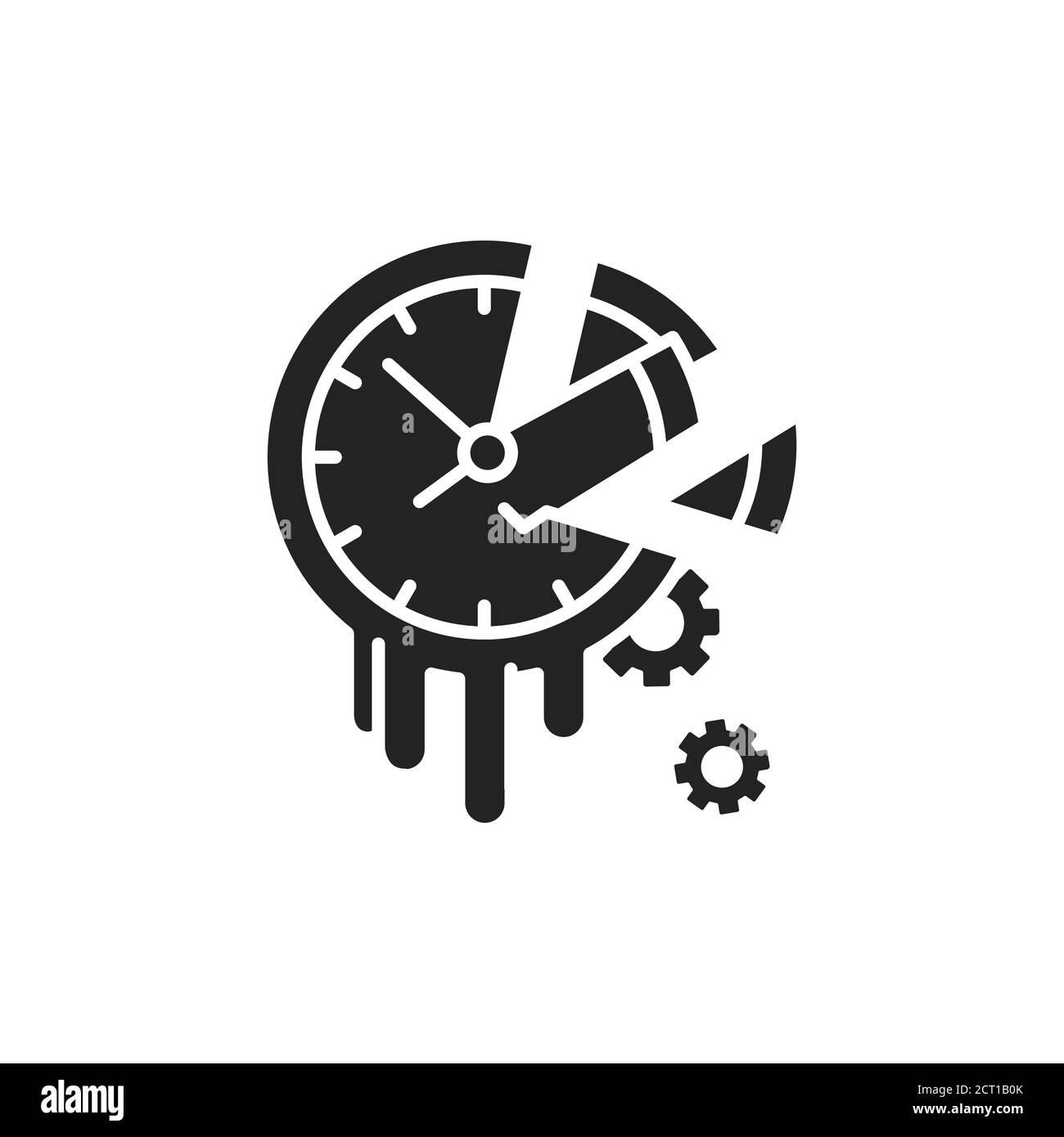 Icono de glifo negro de tiempo de pérdida. Concepto de dilación y pereza. Firme para la página web, la aplicación móvil, el botón, el logotipo. Elemento aislado vectorial Ilustración del Vector