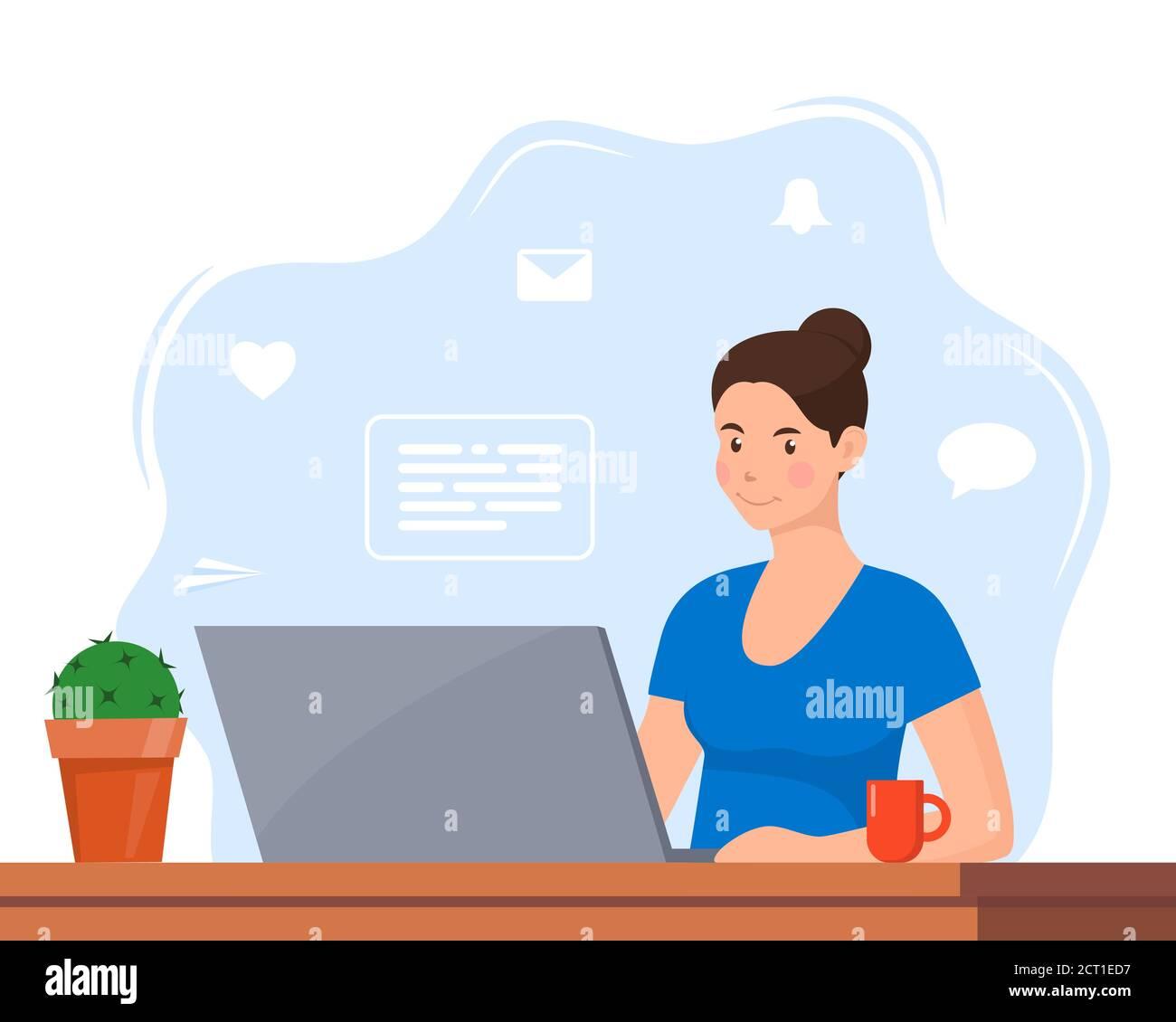 Mujer joven trabajando en el ordenador portátil en la oficina en casa. Freelancer en el trabajo, el trabajo remoto. Mujer joven sentada en un escritorio con un ordenador portátil y una taza de café. Estilo plano Ilustración del Vector