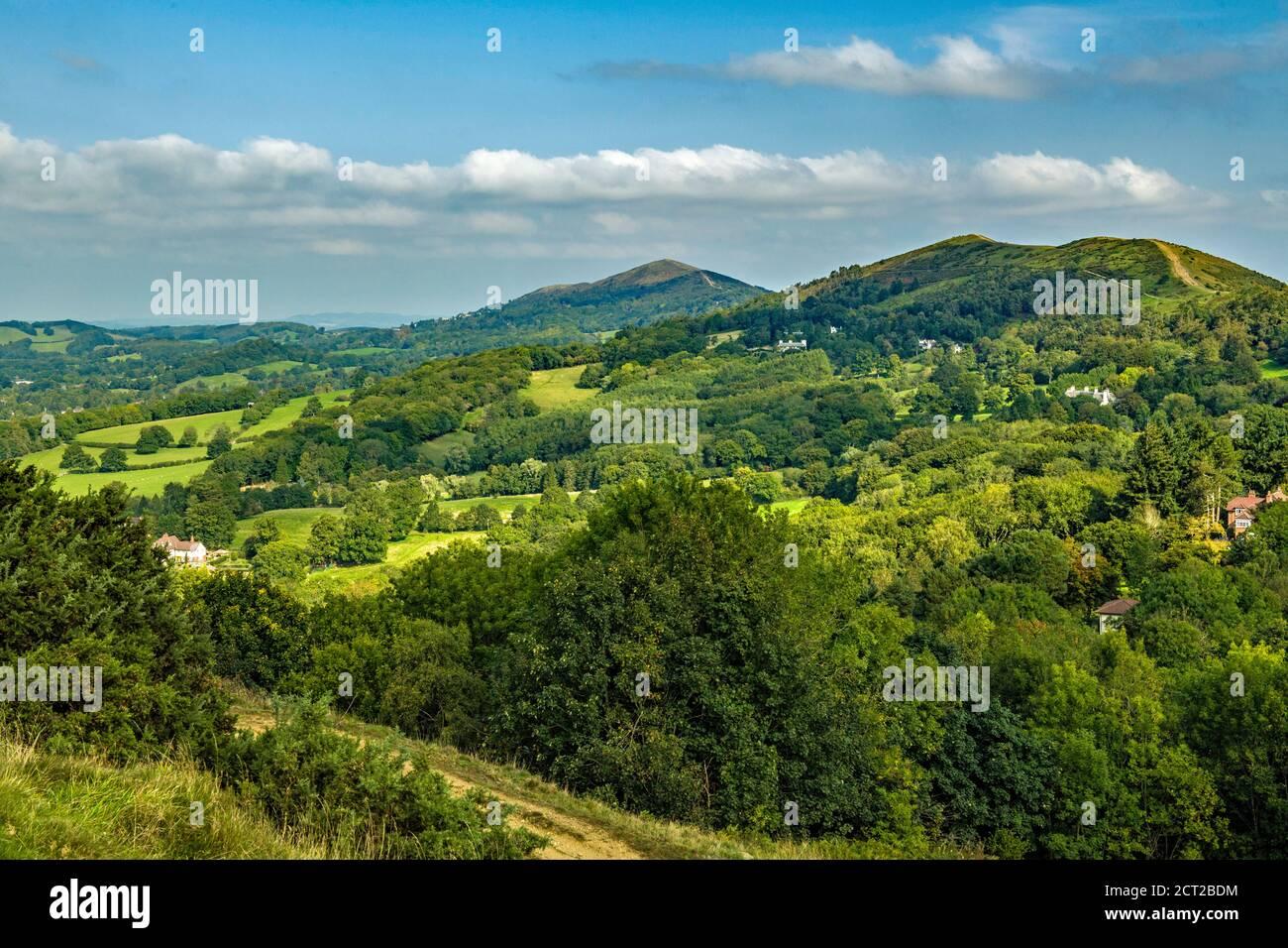 La sección norte de las colinas de Malvern, la frontera entre Herefordshire y Worcestershire en Inglaterra, en septiembre. Foto de stock
