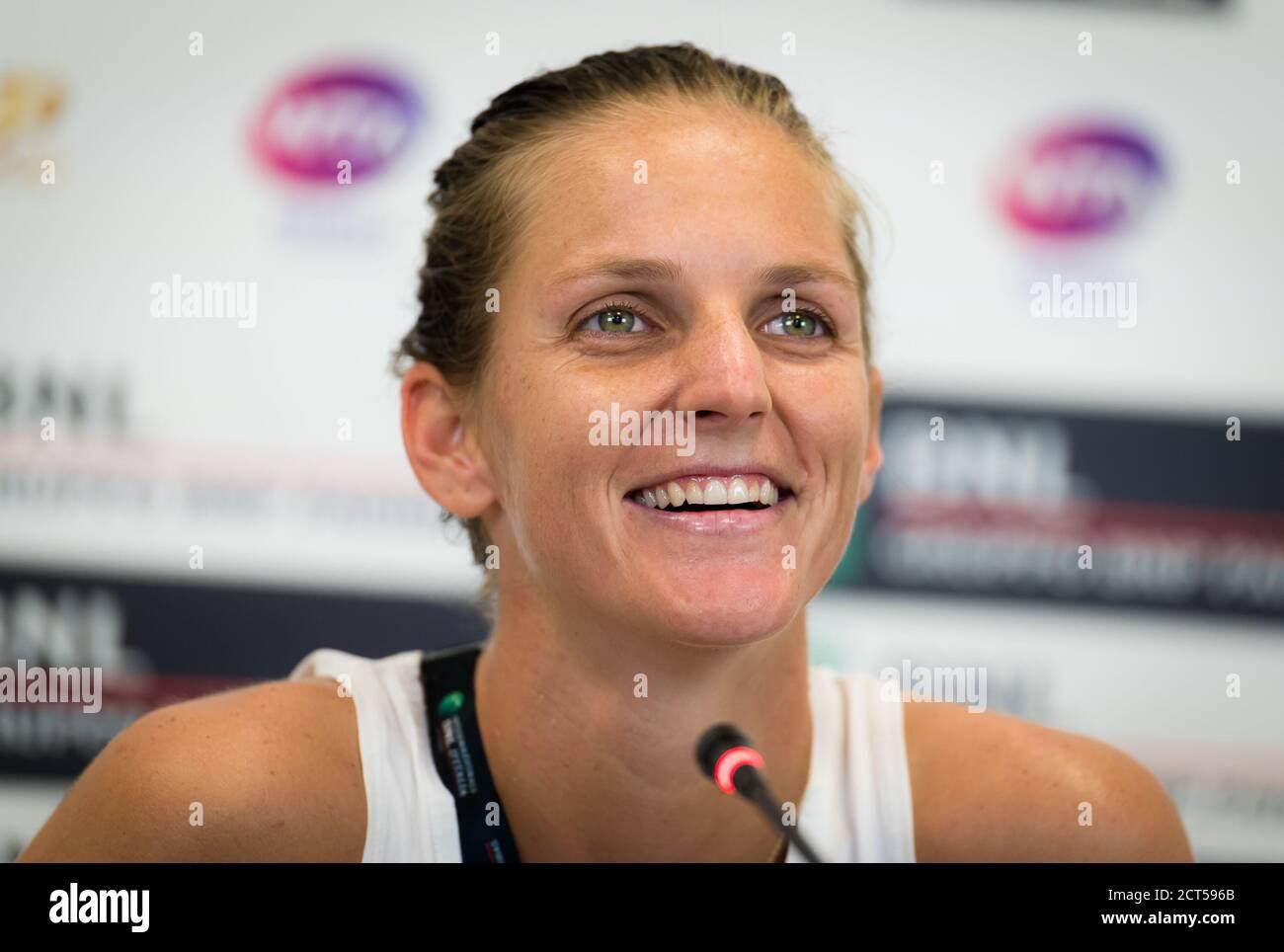 Karolina Pliskova, de la República Checa, habla con los medios de comunicación Después de su partido de cuartos de final en el 2020 Internazionali BNL d'Italia WTA Premier 5 tenis Foto de stock