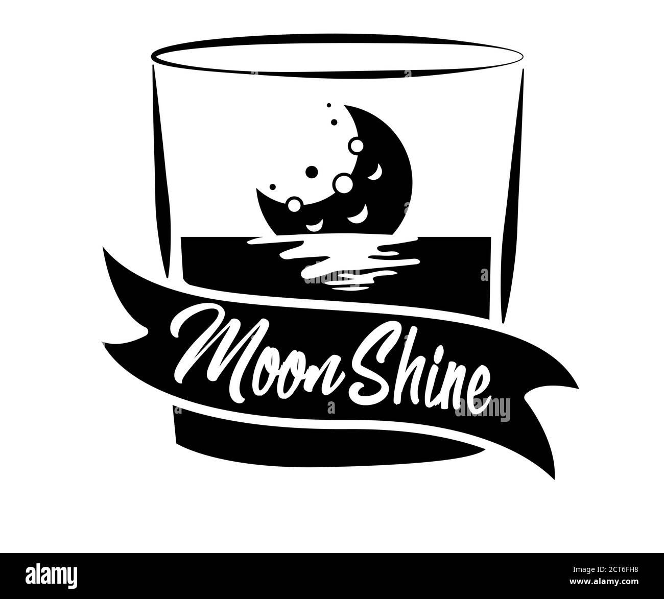 Diseño vintage de la etiqueta de brillo lunar con elementos étnicos en el estilo de línea fina, bourbon, brillo lunar y brandy. Logotipo o etiqueta vintage en blanco y negro Ilustración del Vector